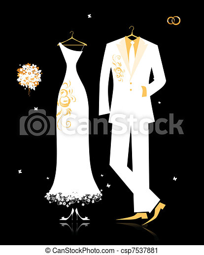 Wedding groom suit and bride's dress white on black for your design - csp7537881