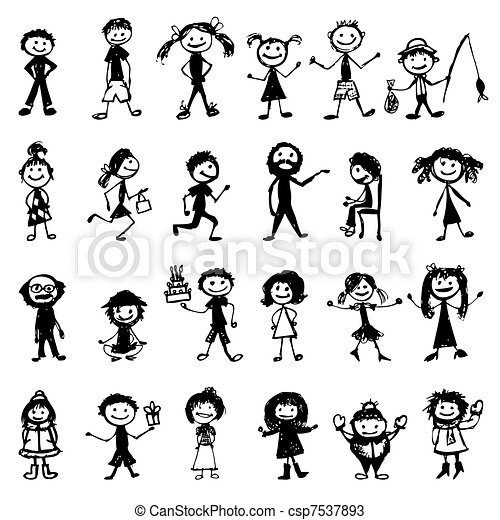 Set of 24 drawing people's for your design - csp7537893