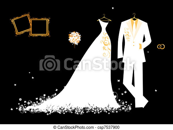 Wedding groom suit and bride's dress white on black for your design - csp7537900