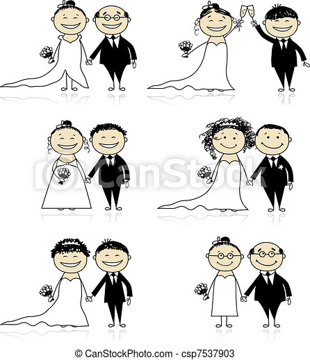 Wedding ceremony - bride and groom together for your design - csp7537903