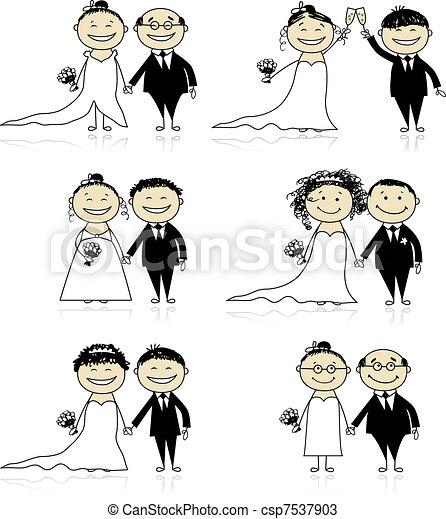 Vettori di cerimonia sposo insieme sposa disegno for Disegno sposi