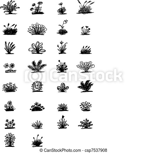 30 sketch of plants for your design - csp7537908