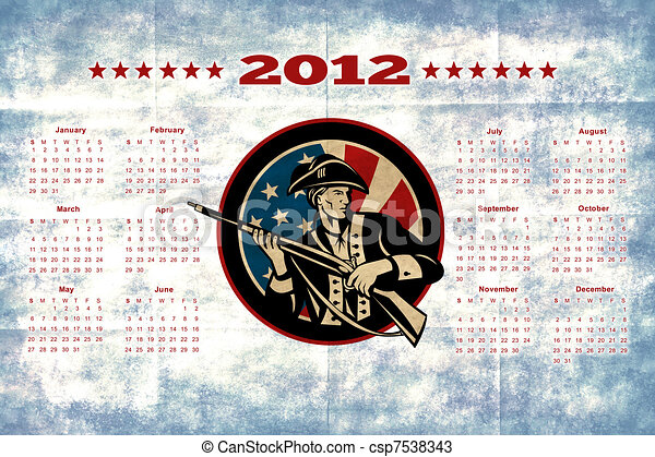 American Patriot Flag Poster Calendar 2012 - csp7538343