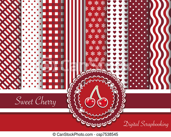 dulce, scrapbooking, cereza, digital - csp7538545