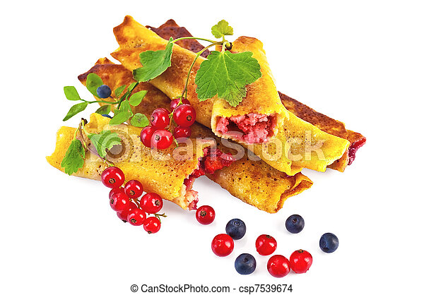 Pancakes with blueberries and red currants - csp7539674