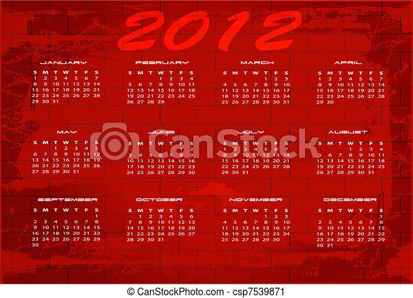 2012 calendar - csp7539871