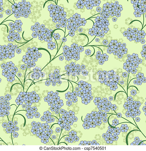 Repeating green floral pattern - csp7540501