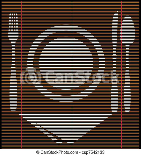 straw mat dinner - csp7542133