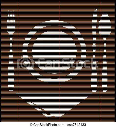 straw mat dinner - csp7542133