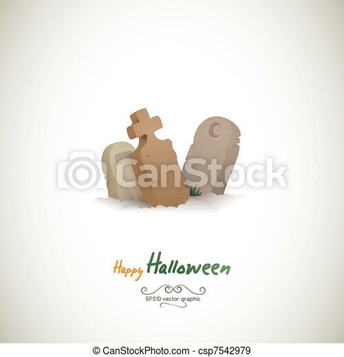 Three Lonely Halloween Graves - csp7542979