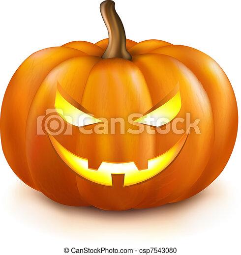 Clipart vecteur de citrouille pumpkin isolated on for Decoration qui fait peur
