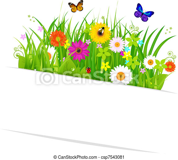 Paper Sticky With Grass And Flowers - csp7543081