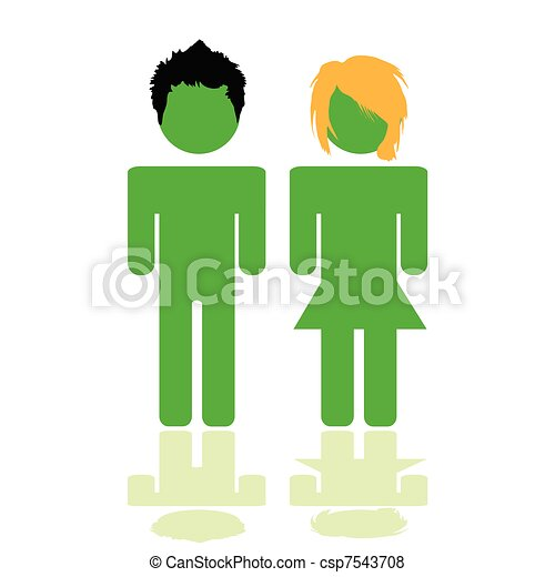 people illustration in green color with hair style - csp7543708