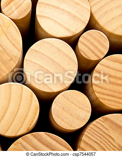 Abstract of round pieces of wood