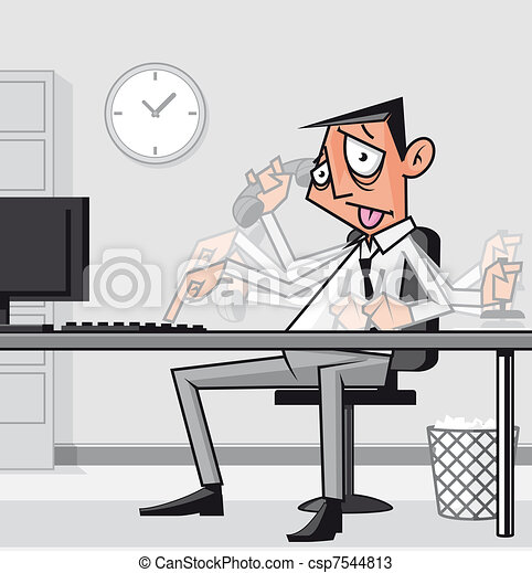 Stressed overworked businessman - csp7544813