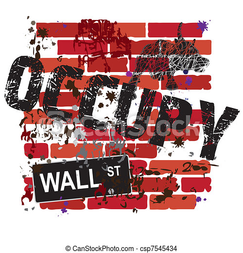 Occupy Wall Street Sign - csp7545434