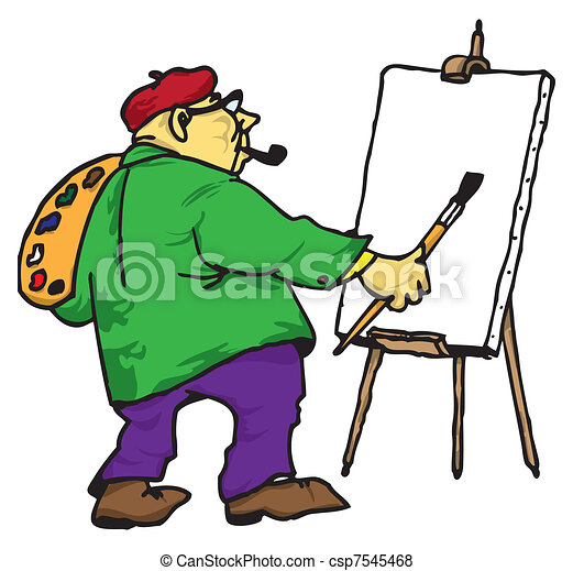 The artist with his easel - csp7545468
