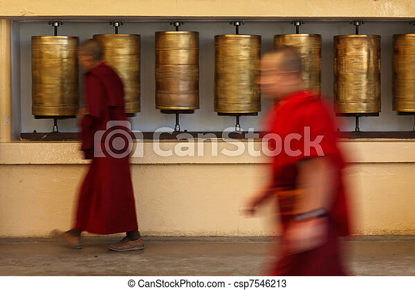 Buddhist monk rotating prayer wheels in McLeod Ganj - csp7546213