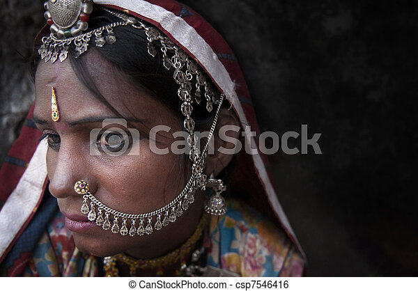 Portrait of a India Rajasthani woman - csp7546416