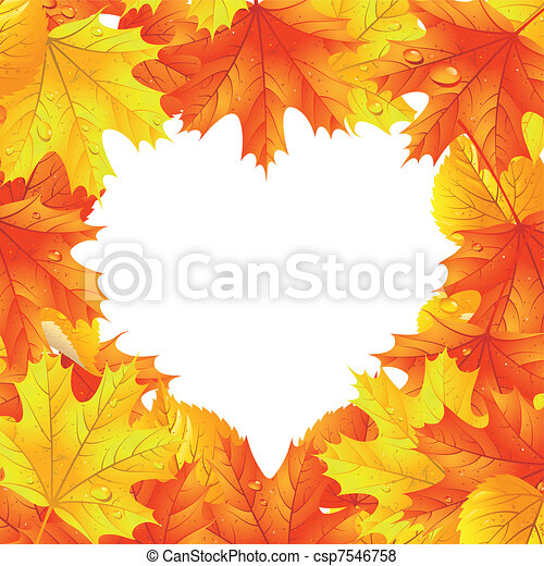 Maple leaves  in the shape of heart - csp7546758