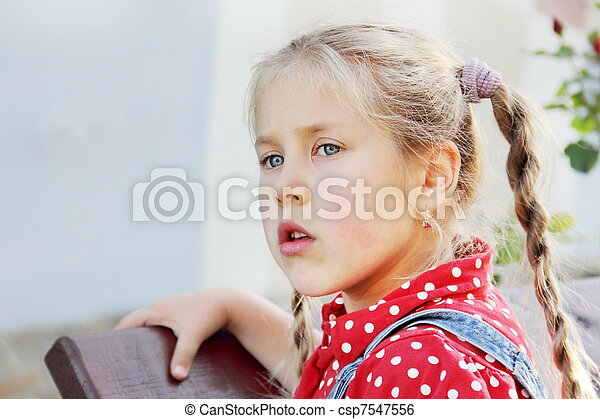 Young Girl with Staring Sight - csp7547556
