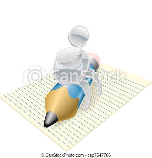 Metallic character writer thinking - csp7547786