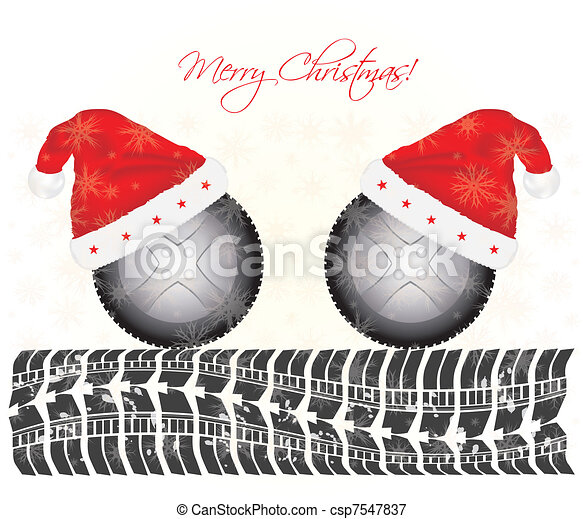 special Christmas background with tire design - csp7547837