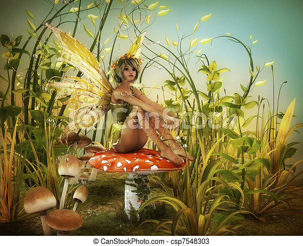 Fly Agaric Drawing Fairy is Sitting on a Fly