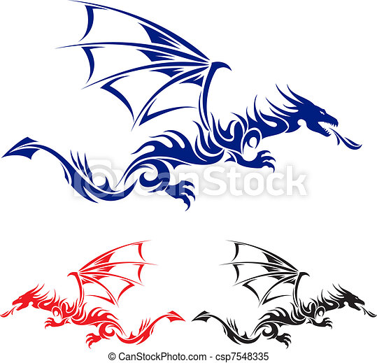 Asian tattoo dragon. - csp7548335