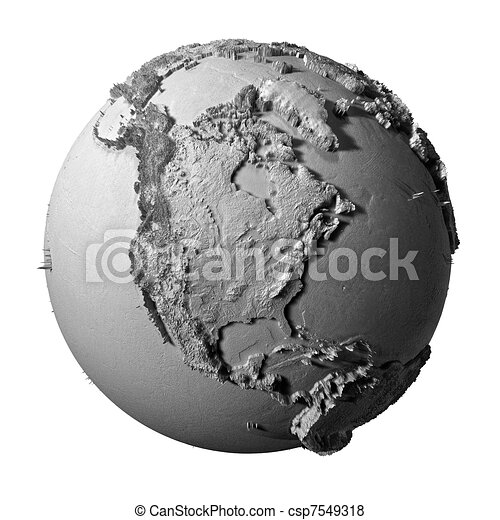 Gray Globe - North America - csp7549318