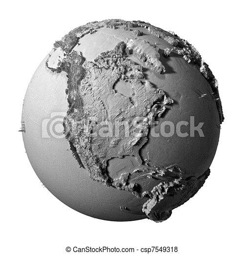 Gray Globe - North America - csp7549318