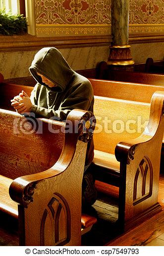 祈禱, 人, 教堂 - csp7549793