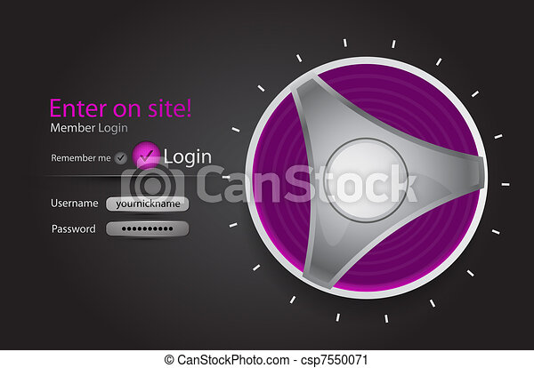 Vector login page with tune button - csp7550071
