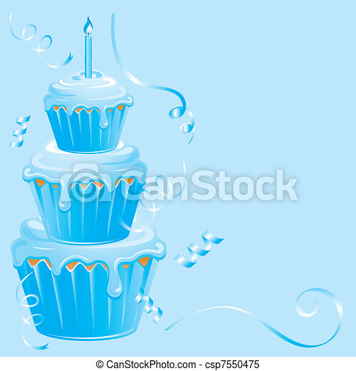 Baby Boy Birthday Cupcake - csp7550475