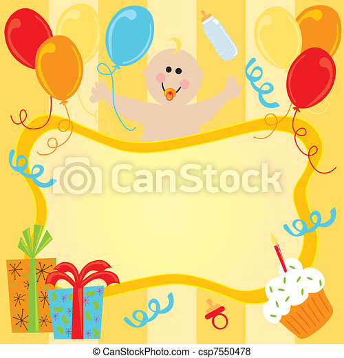 Happy Birthday Baby Invitation - csp7550478
