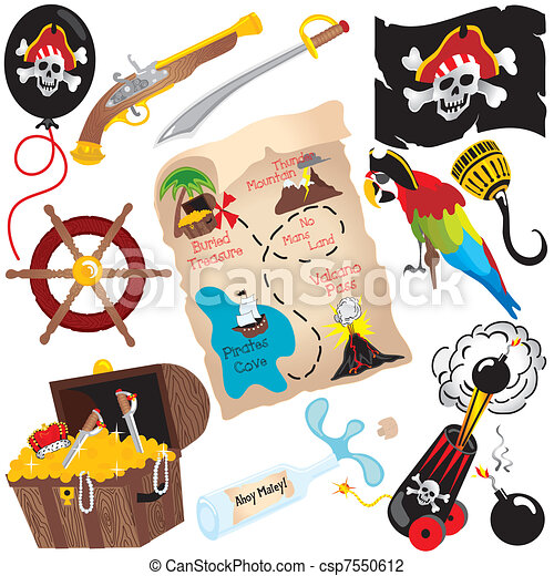 Pirate Birthday Party Clip art  - csp7550612