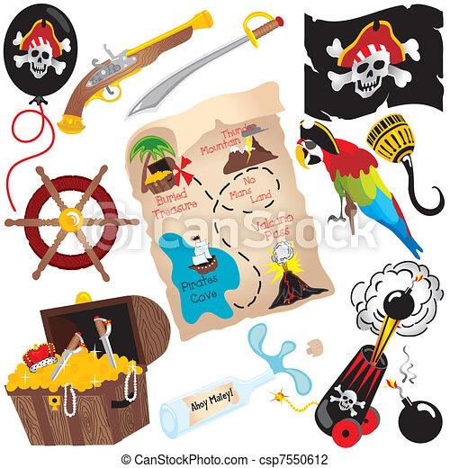 Pirate Birthday Party Clip art  - csp7550612