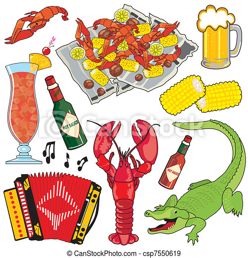 Cajun Icons and clipart - csp7550619