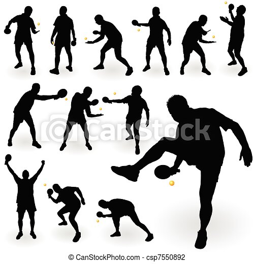 Vector Illustration of table tennis player black silhouette ...