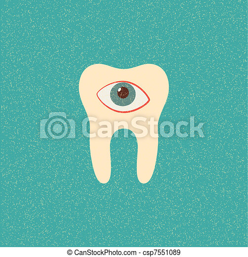 tooth retro poster - csp7551089