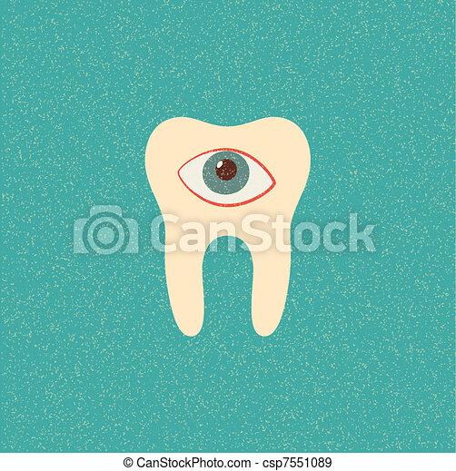 tooth retro poster - csp7551089