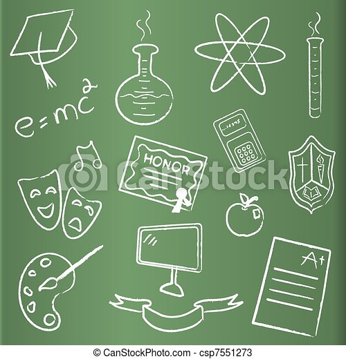 School themed chalkboard icons - csp7551273
