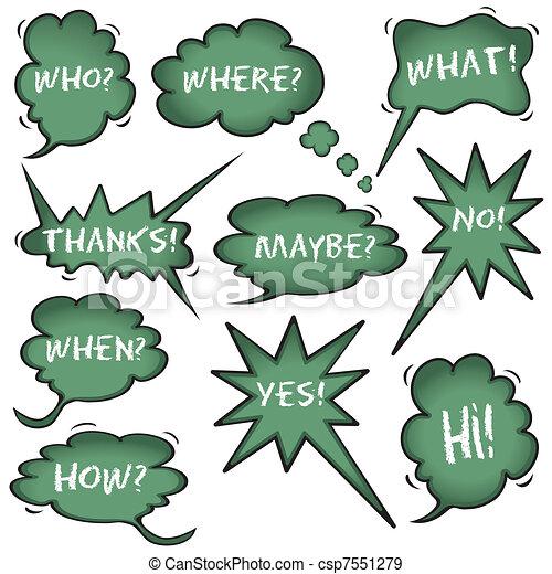 Chalkboard Speech Question Bubbles - csp7551279