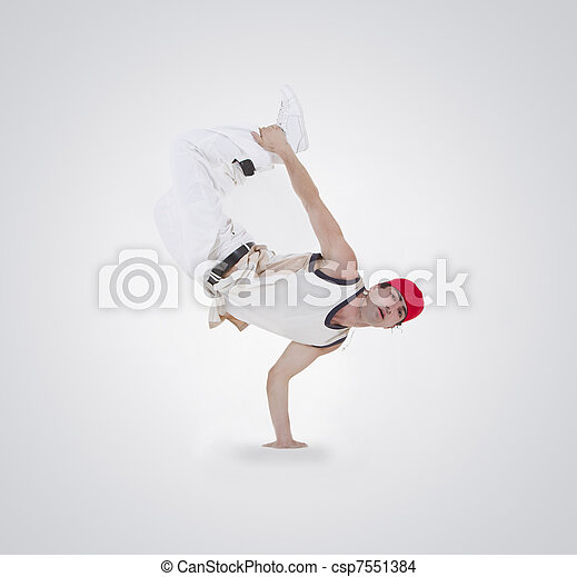 Teenager dancing breakdance in action - csp7551384