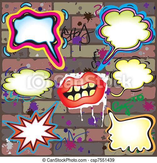 Grunge Wall with graffiti bubbles - csp7551439