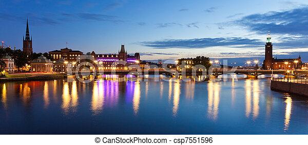 Evening panorama of the Old Town in Stockholm, Sweden - csp7551596