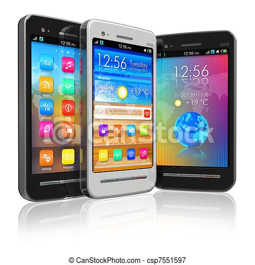 Set of touchscreen smartphones - csp7551597