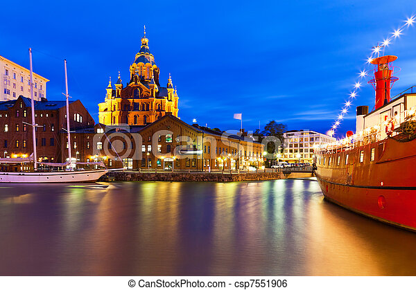 Night view of the Old Town in Helsinki, Finland - csp7551906