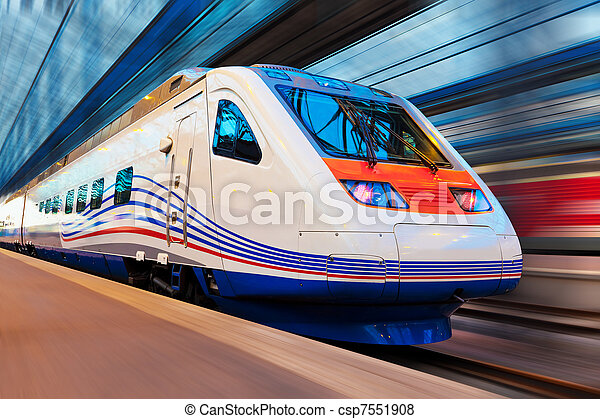 Modern high speed train with motion blur - csp7551908