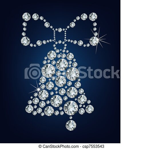 Christmas bell made from diamonds - csp7553543